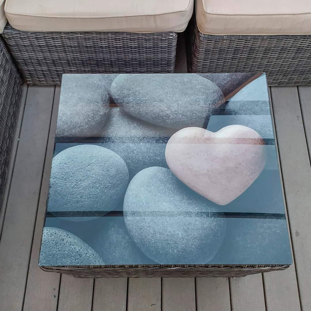 Vinilo para cristal de mesa de exterior